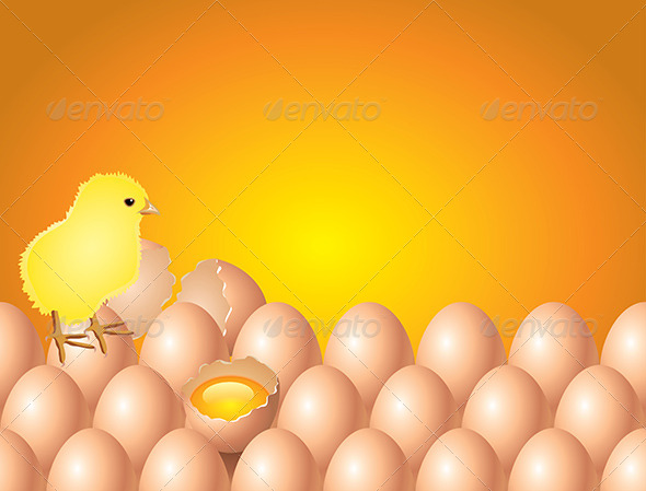 GraphicRiver Chicken on Eggs Easter Background 5870853