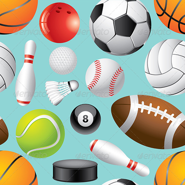 GraphicRiver Sport Balls Seamless Background in Vector 5870941