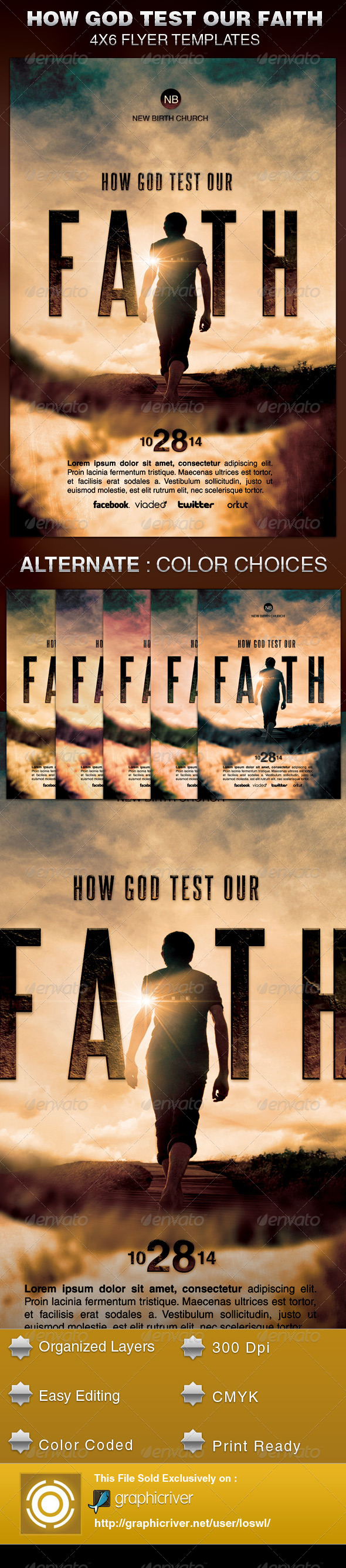 GraphicRiver How God Test Our Faith Church Flyer Template 5871876