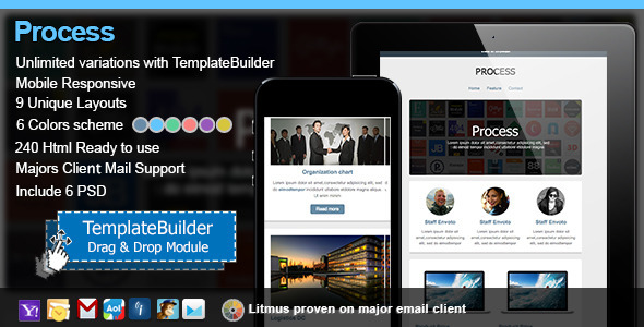 Process Responsive E-mail Templates Builder - Newsletters Email Templates