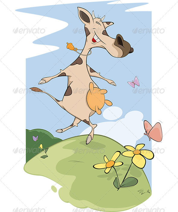 GraphicRiver Cheerful Cow on a Meadow Cartoon 5872291