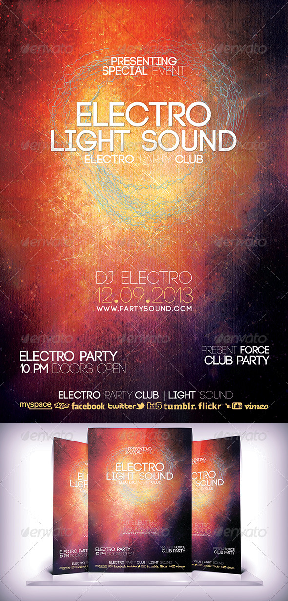 GraphicRiver Electro Light Sound Flyer 5873792