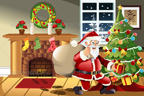 GraphicRiver Santa Claus Carrying Christmas Presents 5874987