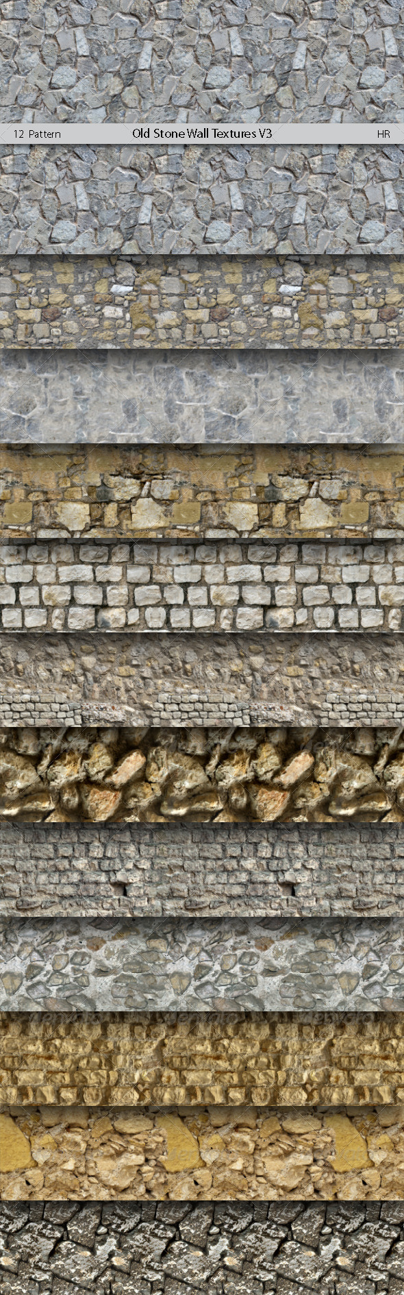 GraphicRiver Old Stone Wall Patterns V3 5875080