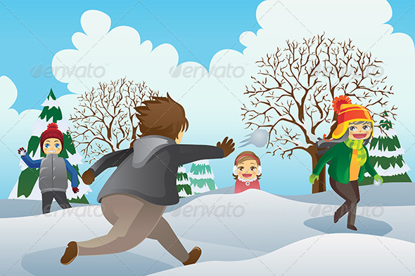 GraphicRiver Children Playing Snowballs 5875778