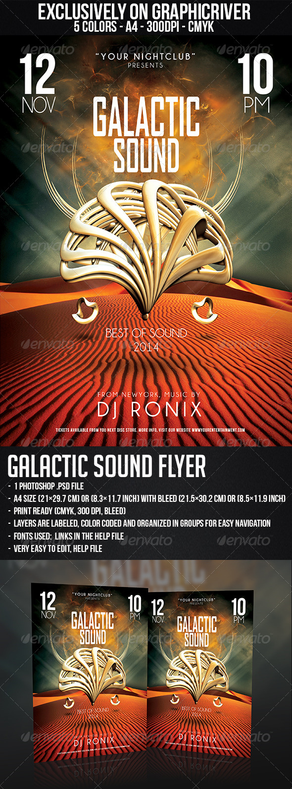 GraphicRiver Galactic Sound Flyer 5875852