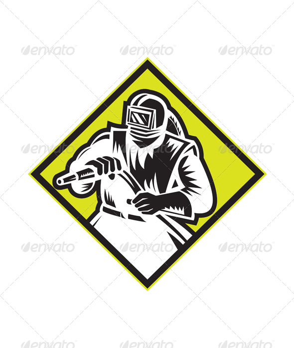 GraphicRiver Sandblaster Sandblasting Diamond Retro 5875891