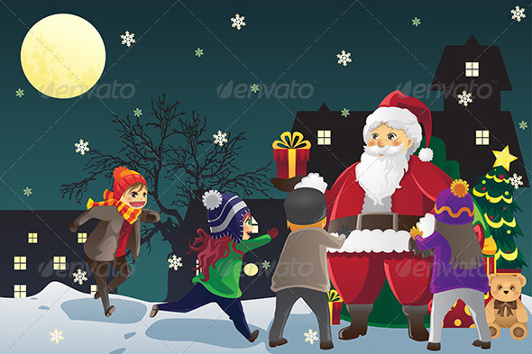 GraphicRiver Santa Claus giving out Christmas Presents to Kids 5876030