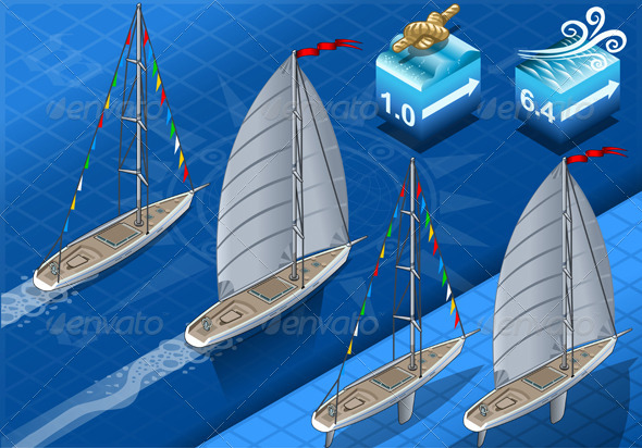 GraphicRiver Isometric Sailships in Navigation in Rear View 5876352