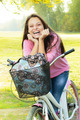 Happy Student Girl With Bicycle - PhotoDune Item for Sale