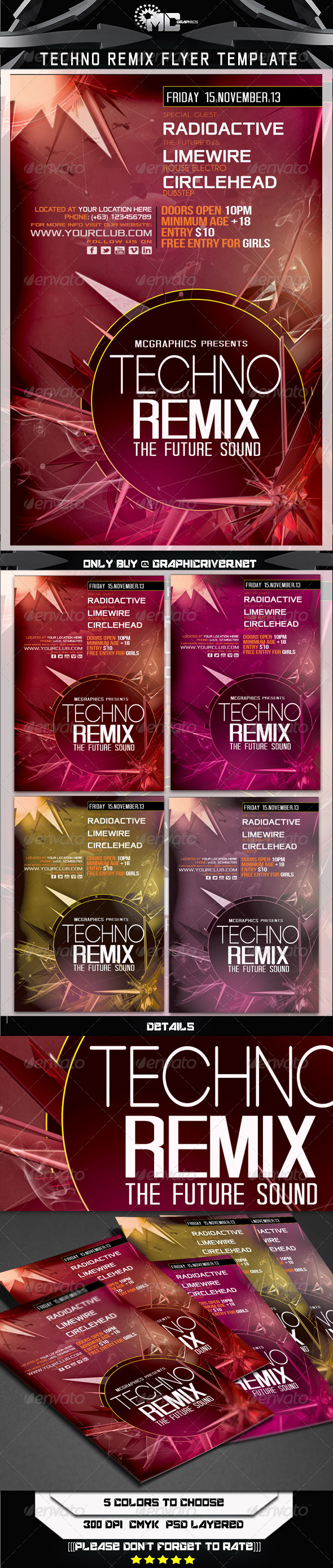 GraphicRiver Techno Remix Flyer Template 5877877
