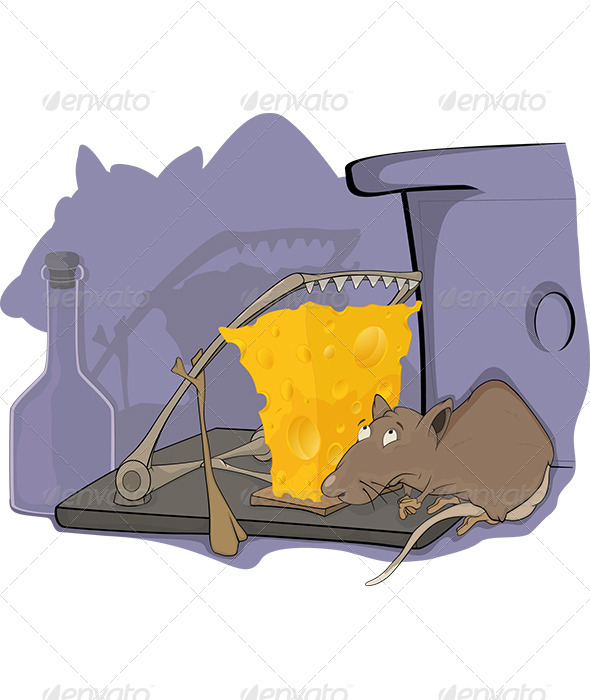 GraphicRiver Rat a Mousetrap and a Cellar Cartoon 5878419