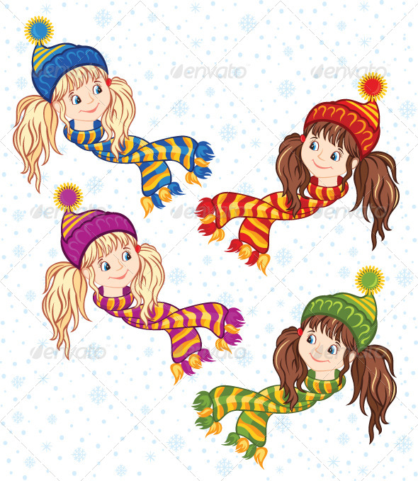 GraphicRiver Little Girls in the Knitted Caps and Scarfs 5869878