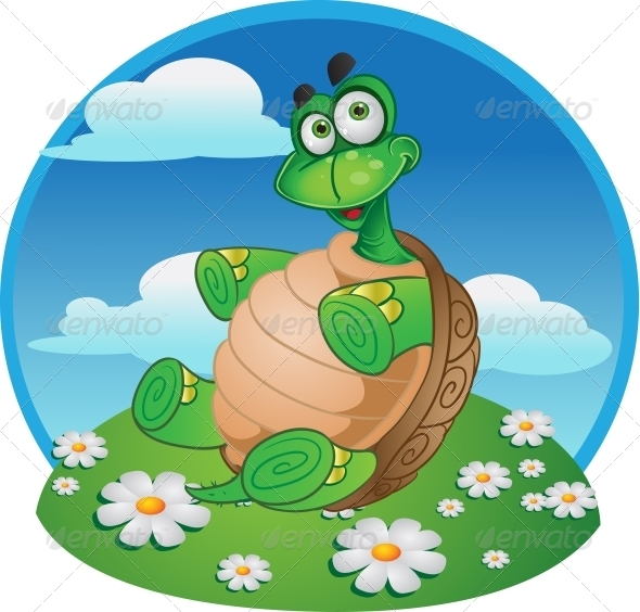 GraphicRiver Fun Tortoise on Color Background 5883248