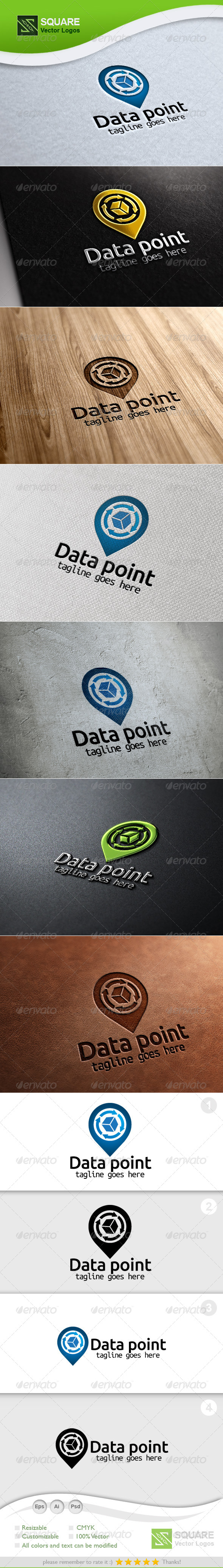 Data Cube Point Vector Logo Template - Symbols Logo Templates