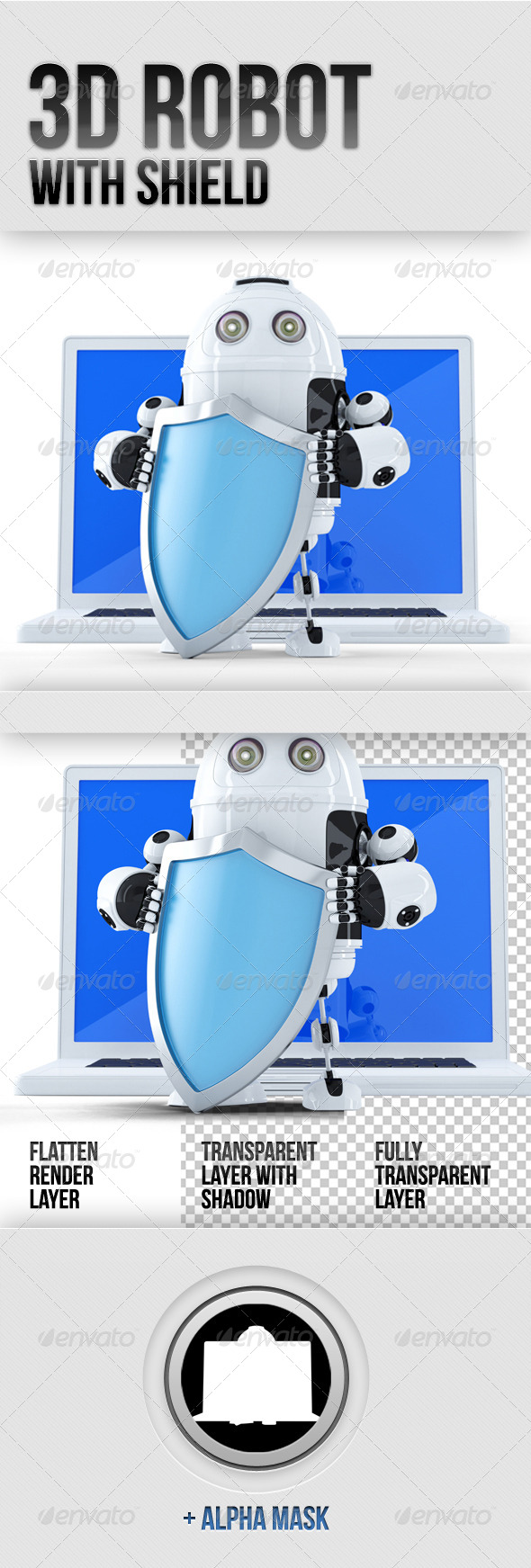GraphicRiver 3D Robot with Shield 5883563