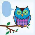 motley owl with message bubble sitting on a tree branch - PhotoDune Item for Sale