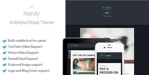 ThemeForest Nerdy Simple and Responsive Ghost Theme 5877258
