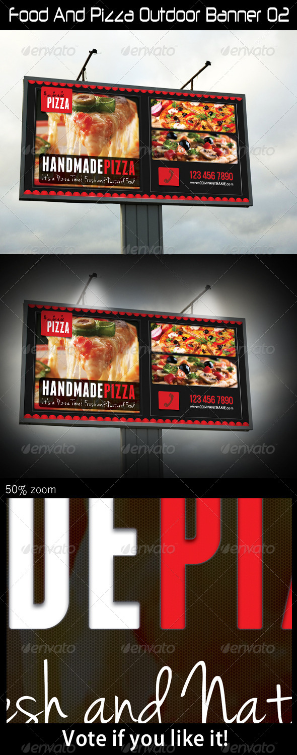 Food And Pizza Outdoor Banner 02 - Signage Print Templates