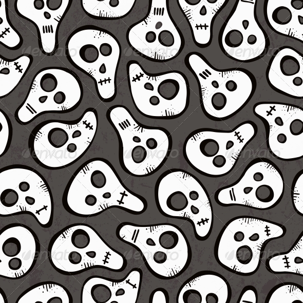 GraphicRiver Seamless Pattern with Funny Skulls 5886568