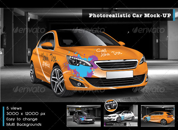 GraphicRiver Photorealistic Car Mock-Up 5834417