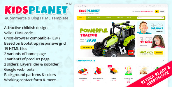 Kids Planet - Responsive Ecommerce/Blog HTML Theme