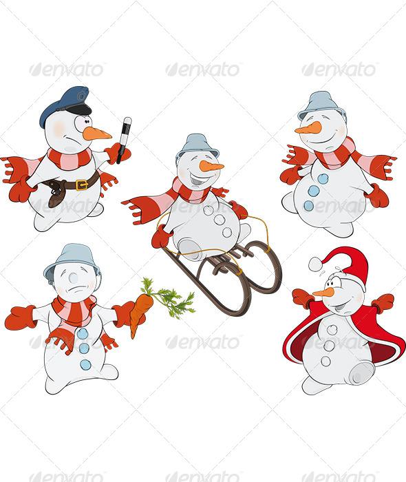 GraphicRiver Snowman Cartoon 5889433