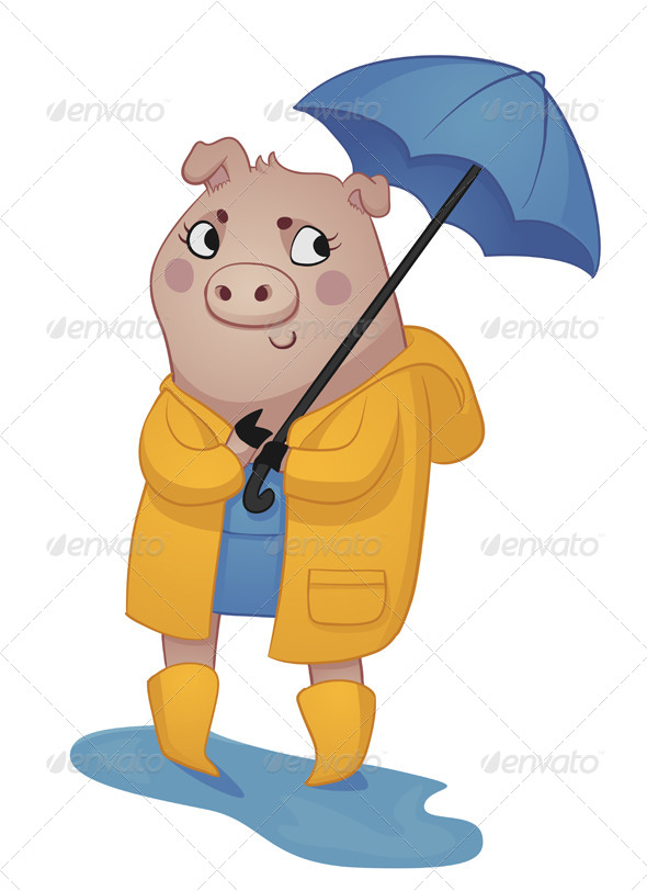 GraphicRiver Cartoon Pig in Rain Gear 5860972