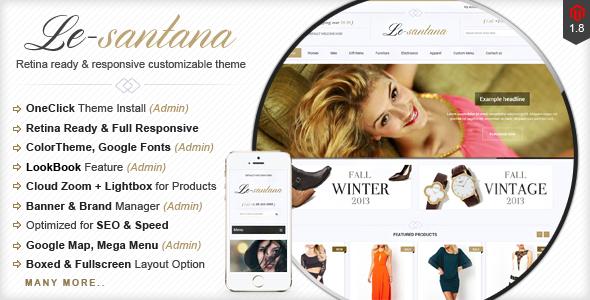 "Le-Santana – Responsive & Retina Ready Magento Theme ""Le-Santana"" – is a premium responsive & retina ready magento theme with c"