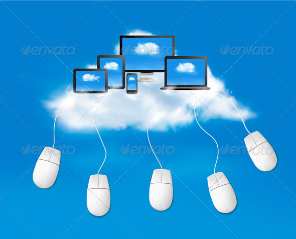 GraphicRiver Cloud Computing Concept Background with Mouses 5892110