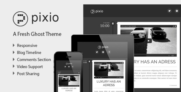 ThemeForest PIXIO Flat and Responsive Ghost Theme 5886890
