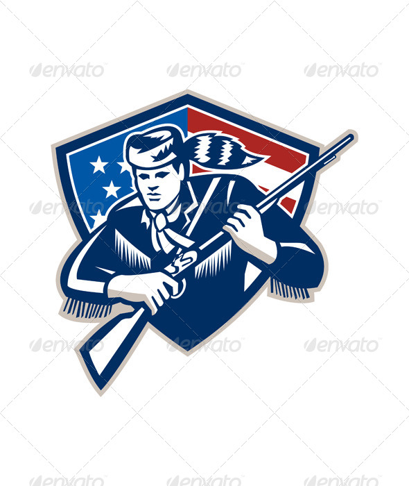GraphicRiver American Frontiersman Patriot Stars Stripes Flag 5894171