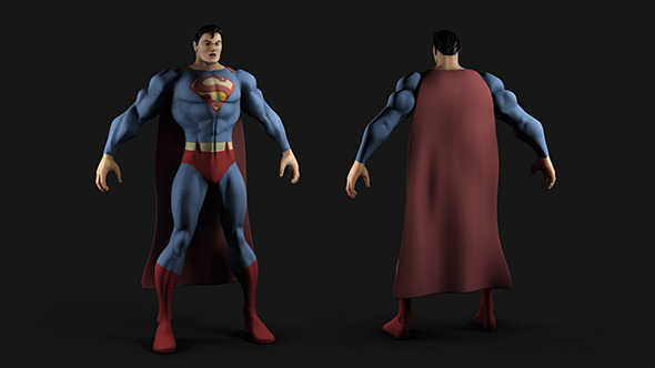 3DOcean Superman MP and HP Textured Model 5894894