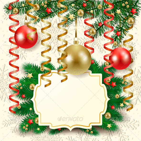 Christmas Background with Baubles and Label - Christmas Seasons/Holidays