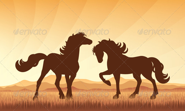 GraphicRiver Horses on Field with Sunset Background 5896541