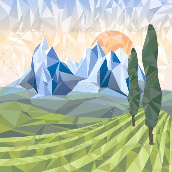 GraphicRiver Stylized Landscape 5896667