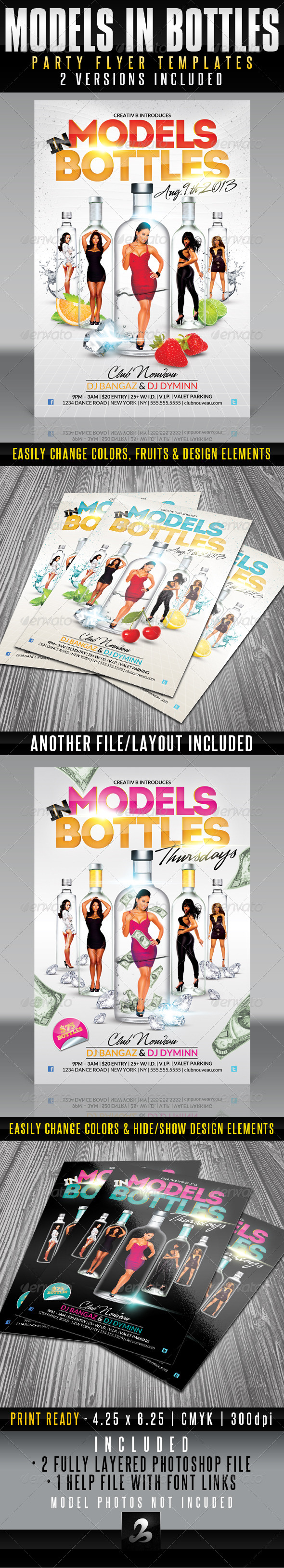 Models in Bottles Party Flyer Templates - Clubs & Parties Events