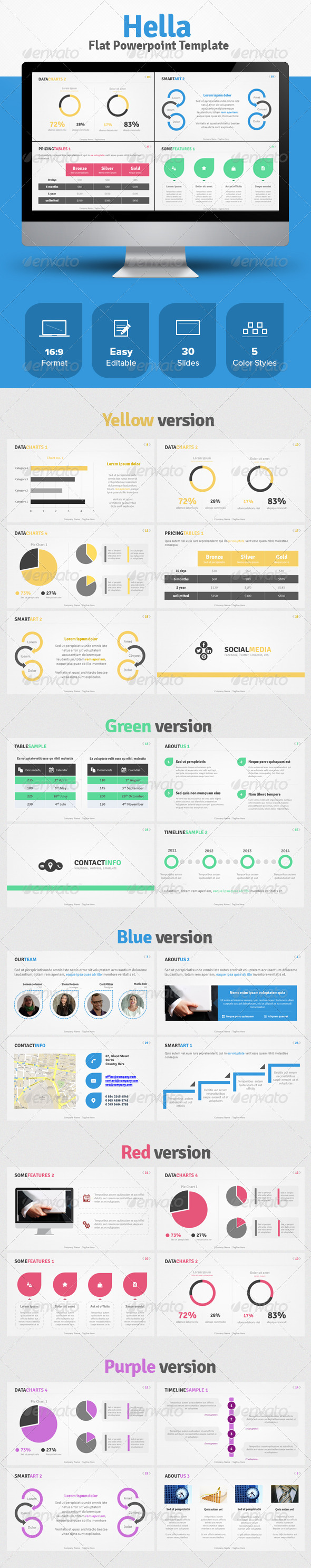 GraphicRiver Hella Flat Powerpoint Template 5871587