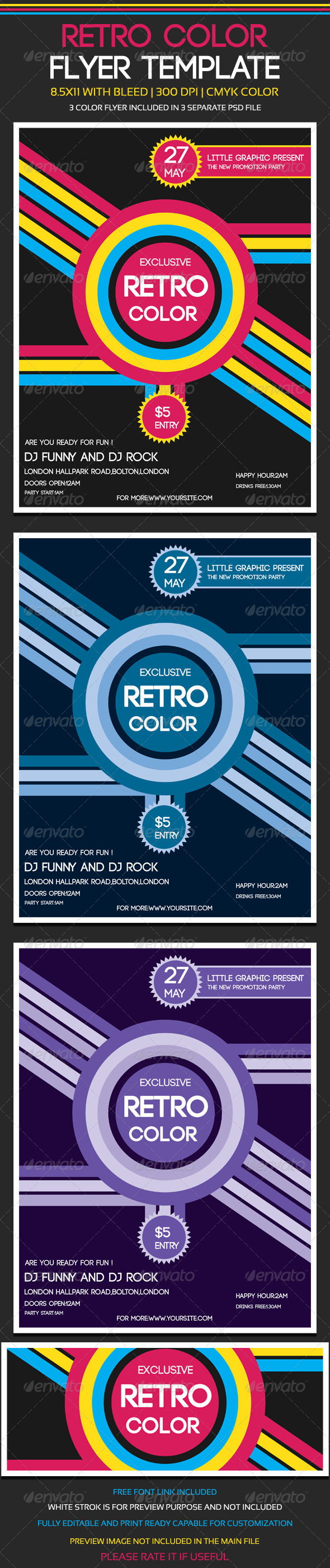 Retro Color Flyer Template - Clubs & Parties Events