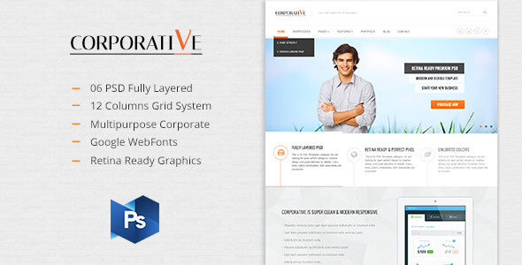 ThemeForest Corporative Multipurpose PSD Template 5576915