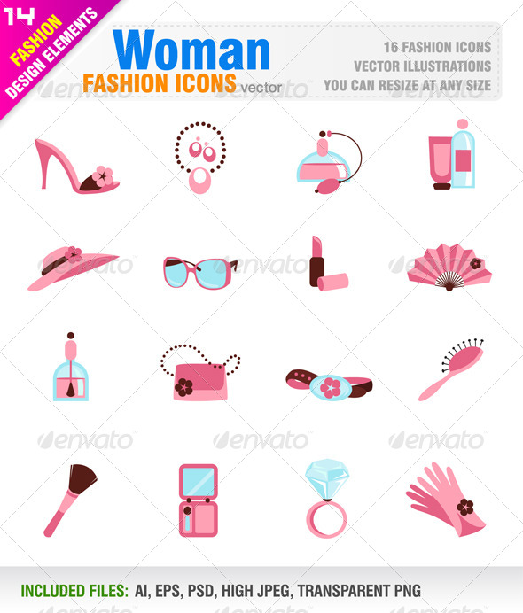 GraphicRiver Woman fashion icons 5898543