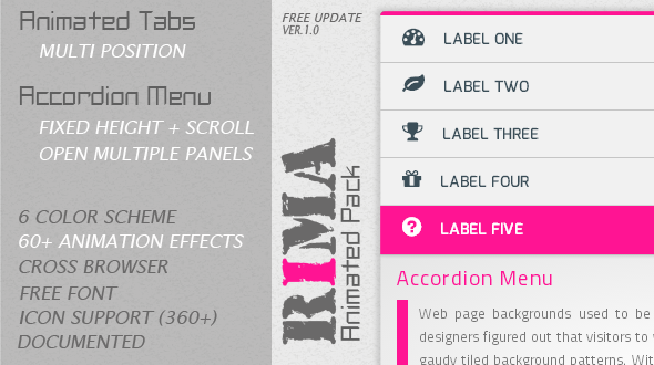 CodeCanyon Rima Animated Tabs And Accordion Menu 5898903