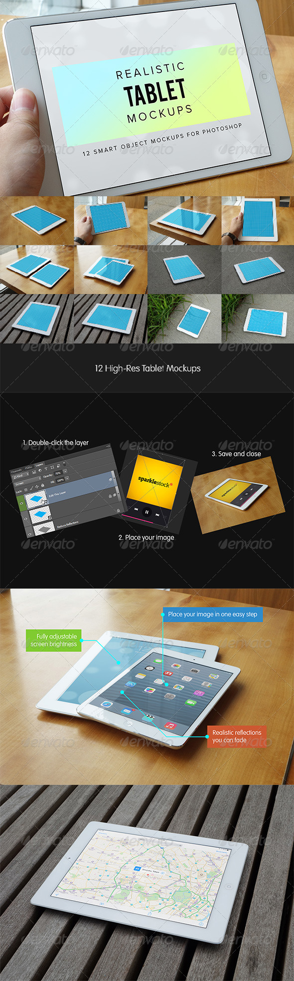 GraphicRiver 12 Realistic Tablet Mockups 5714572
