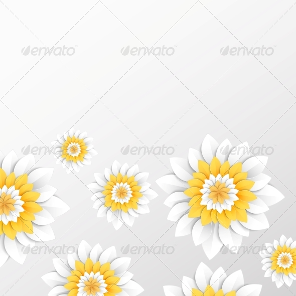 GraphicRiver Paper Flowers Postcard 5899716