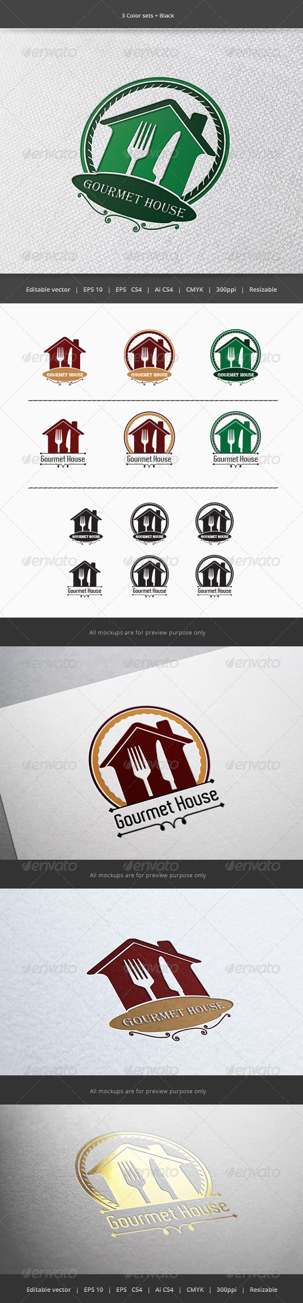 GraphicRiver Gourmet House Restaurant Logo 5899761