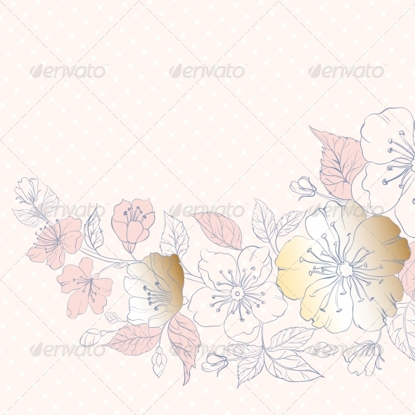 GraphicRiver Background of Cherry Blossoms on Pink 5899792