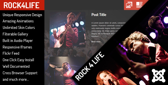 Rock4Life - Joomla Template for Bands/Musicians