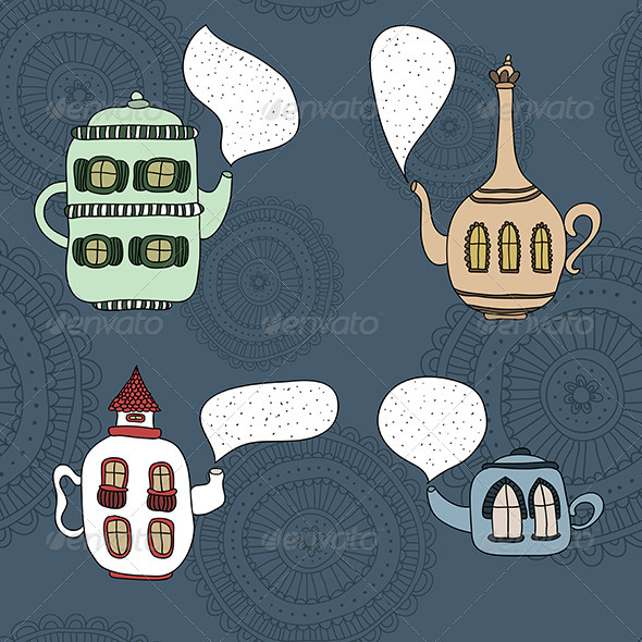 GraphicRiver Set of Four Teapot Houses 5901841
