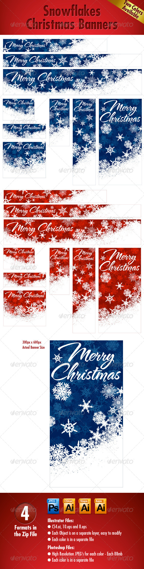 GraphicRiver Snowflakes Christmas Web Banners Two Colors 5898814