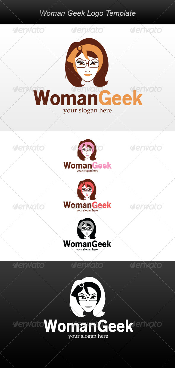 GraphicRiver Woman Geek Logo 5902306